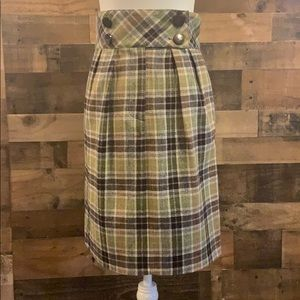 Plaid pencil skirt, wool blend with button details